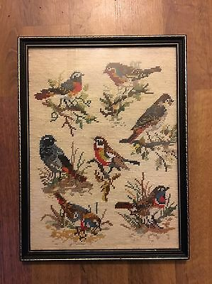 Antique Art Deco Knitting Embroidery Handmade English British Birds Old Picture
