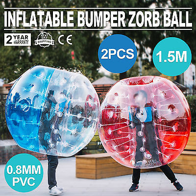 2Pcs 1.5M Body Inflatable Bubble Bumper Zorb Ball W/ Repair Kit Zorbing Family