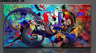Framed Hand-painted Abstract Oil Painting Modern Artwork Wall Art Hanging Decor