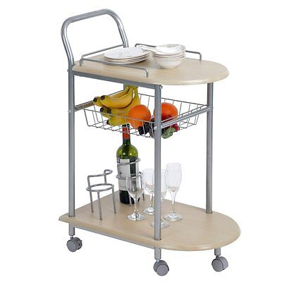 3-Tier Serving Cart with Basket Home Kitchen Island with Rolling 360 Swivel Whee