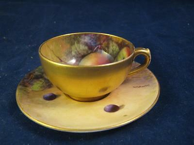 Royal Worcester Cabinet  Miniature Cup & Saucer Hand Painted  Fruit W H Austin