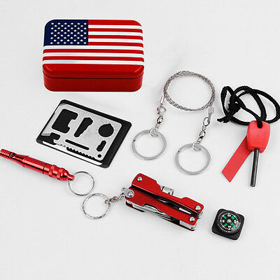 Outdoor Camping Hiking Survival Portable First Aid Kit Flag Case Box Equipment