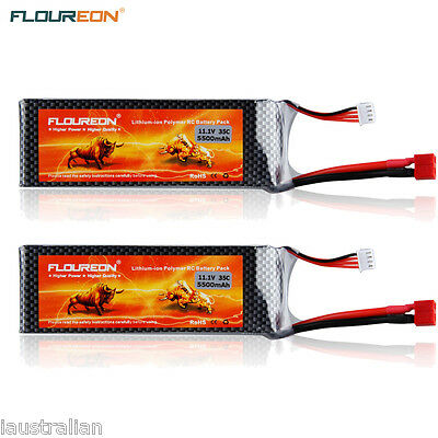 2XFLOUREON 11.1V 5500mAh 3S 35C Lipo RC Battery Deans for RC Helicopter Airplane