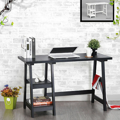 Black Desk Computer Laptop Study Home Workstation Writing Table With 2 Shelves