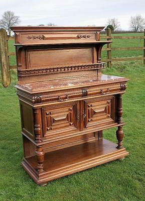 AN SUPERB  LATE 19th CENTURY SOLID WALNUT FRENCH BUFFET / SIDEBOARD / HALLSTAND