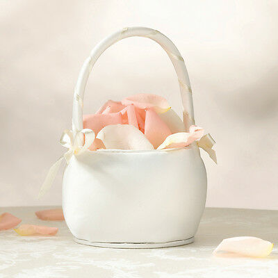 Ivory or White Wedding Ceremony Flower Girl Basket Bridesmaid Plain Round Satin