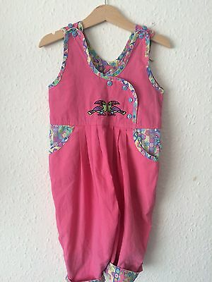 Vintage Girls Baby 80s Pink Toucan Romper Onesie Tropical Tiki Summer 12-18 M