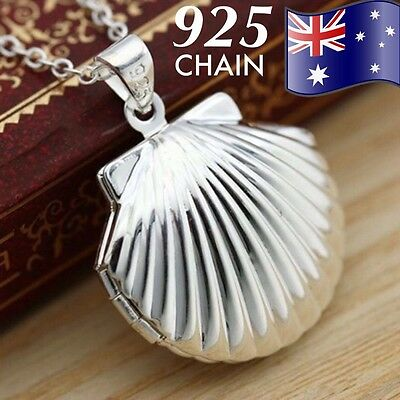 925 Sterling Silver Chain Photo Sea Shell Locket Mermaid Pendant Necklace NEW