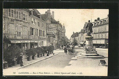 formidable CPA Langres, Rue et Place Diderot