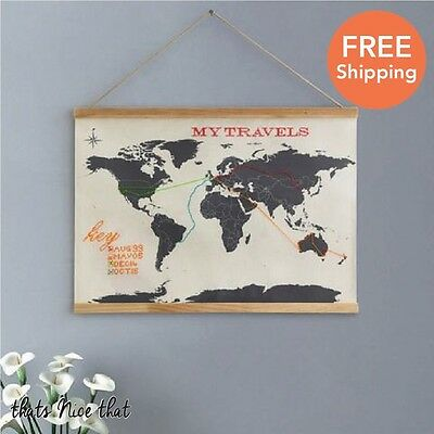 Cross Stitch Map Gift Travel Fun World Home Atlas Poster Hanging Frame Globe Sew
