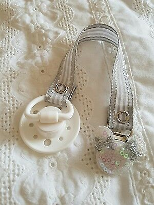Reborn Baby Silver  & White  Magnetic Dummy~Soother & Dummy Clip