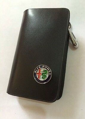 Alfa Romeo Leather Key Cover Case Holder Ring Chain Fob !