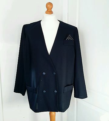 Vintage 80's Womens  Navy Blue Double Breasted Blazer Jacket 20 22
