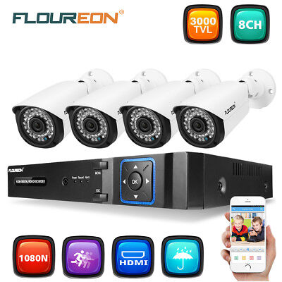 8CH 1080N HDMI DVR NVR 2000TVL CCTV Security Camera System Home Video 1TB HDD