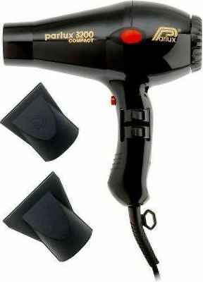 Parlux Compact 3200 Turbo Hair Dryer Black - Includes 2 Nozzles (USED FEW TIMES)