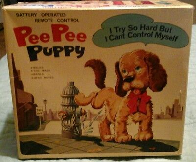 Vintage Pee Pee Puppy Battery Operated Remote Control Walking Dog Made In Japan