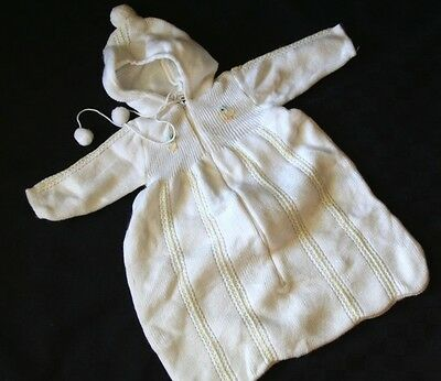 Unisex Vintage Quiltex White Knit Hood Sweater- Baby Bunting Bag 6 Months Ducks