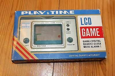Vintage Rare Boxed Playtime Dolphins Lcd Game And Watch  Superb Condition