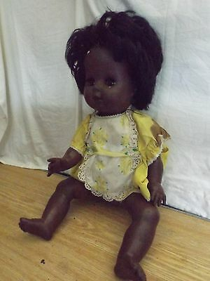vintage old Black chiltern 18 inch doll 1960s or 1970s