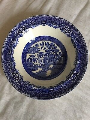 Vintage Alfred Meakin old willow pattern China  bowl 165mm diameter