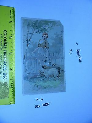 1889 Trade Card Arbuckle Brothers Coffee New York Cooking Notes PIGS Farm Women