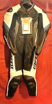 Dainese Crono Perforated Race Suit Black/White/Blue/Silver Size 44 Euro / 32 US