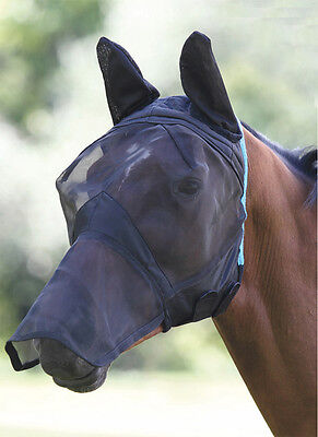 Shires Fly Mask Fine Mesh with Ears & Nose Protector - Comfort Fit  (6654)