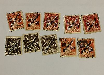 Czechoslovakia Stamp Lot Freedom Breaking Chains Postage Due Postmarks HR