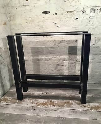 2 Handmade H-Frame Raw Steel Upcycle Large Dining Table Legs Industrial Style