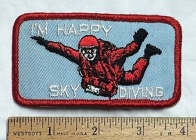 I'm Happy Sky Diving Diver Skydiving Parachute Jumping Souvenir Patch Badge