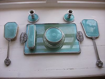 1950s 7 Piece Turquoise Guilloche Dressing Table Set