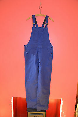 Vtg NOS French blue cotton work trousers bibs overalls dungarees chore pants