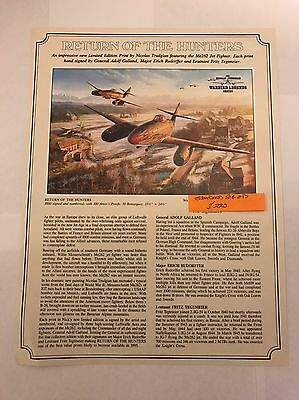 Return Of The Hunters ME262 Print By Nicolas Trudgian Signed Adolf Galland + 2