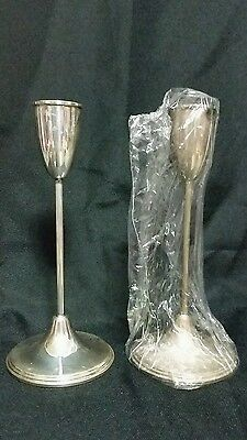 "Pair Empire Sterling Weighted  8"" Candlesticks #628  sh"