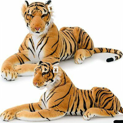 XXL Plush Tiger Lying 4.5 Foot - Extra Large Stuffed Animal Silky Soft Toy Games