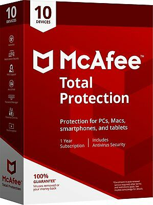 McAfee TOTAL PROTECTION 2020/19-1Year Subscription-Unlimited/10 Devices(ALL SYS)