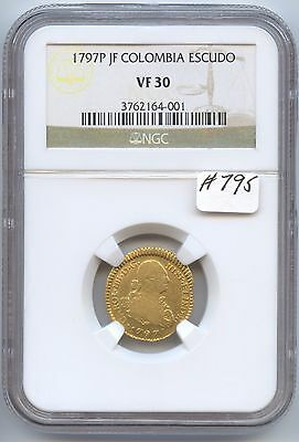 Colombia 1797P JF Escudo (#795) NGC VF30. Holder has Some Scuff Marks. Carefully