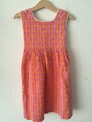 Vintage Girls 1970s Cheesecloth Gingham Peach Smock Summer Traditional Dress 3-4