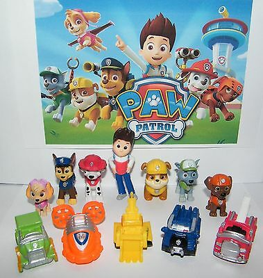 Paw Patrol Cake Toppers Action Figures Puppy Patrol Dog Kids Toy Gift 12pc Set