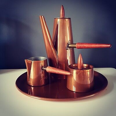 1960s Retro Vintage Copper Coffee Set With Tray and Teak Handles