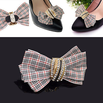 1 Pc Plaid Bownot Shoe Clips Bow Removable Women Fashion Jewellery New Gifts