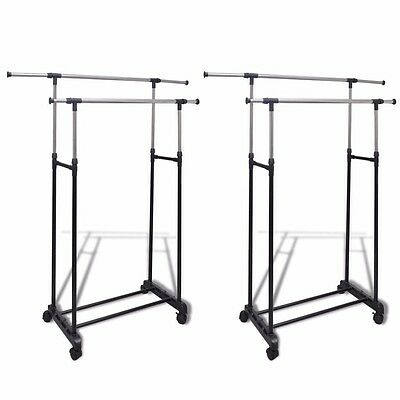 Lot de 2 Porte Vêtements Penderie portant Double Porte-vêtements sur 4 roulettes