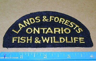 VINTAGE RARE ONTARIO LANDS AND FORESTS FISH+WILDLIFE PATCH,hunting,conservation