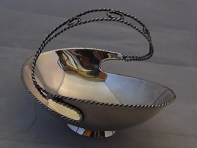 Antique French Silver Basket Bowl Dish Rope Twisted Handle Beetle Hallmark