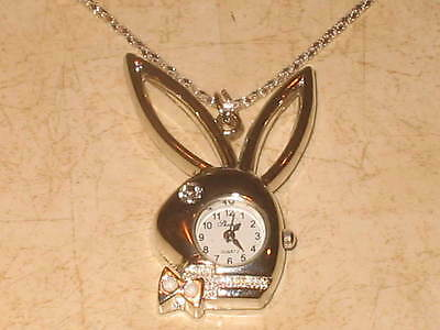 New Womens Playboy Bunny Silver Tone Pendant Necklace Watch - White