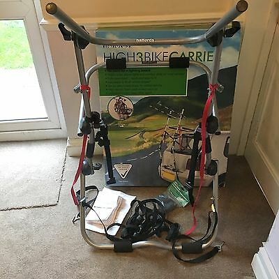 RRP £69 Boxed Halfords High Rise 3 Bike Carrier - Adjustable Car Rear Cycle Rack