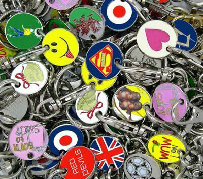 12 Random Trolley One Pound Coin Token Keyring Shopping Cart Wholesale Lobster