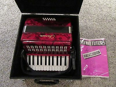 CHANSON 12 base Piano Accordion in Red with Case