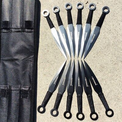 Defender 12pc Black & Silver Throwing Knives Set With Pouch Good Quality