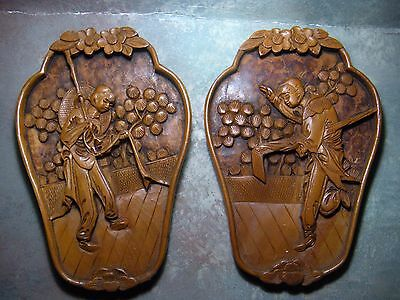 Two Antique Chinese Carved Wood Panel - High Relief